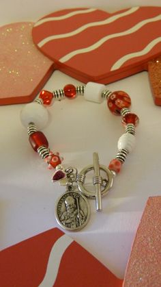 St. Valentine Beaded Bracelet with Heart by saintbellofcolorado, $20.00