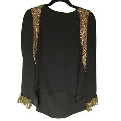 Gold Sequin Top Long sleeve top with gold sequin detail on front and cuffs. Black Tops Blouses
