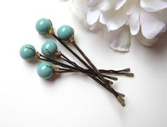 love this as my something blue! Etsy listing at http://www.etsy.com/listing/103438941/jade-green-bobby-pins-wedding-hair-pin
