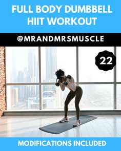 Ramp up your heart rate, sweat bucket and burn loads of calories in this Full Body Dumbbell Workout! --- Ramp up your heart rate, sweat bucket and burn loads of calories in this Full Body Dumbbell Workout! Full Body Dumbbell Workout, Full Body Hiit Workout, Slim Waist Workout, Hitt Workout, Gym Workout Videos, At Home Workouts, Muscle Workouts, Workout Men, Body Fitness