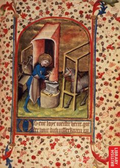 Eligius (or St. Eloy, century illumination From f. 17 of British Library MS. Egerton 859 - horseshoe making in an apron Medieval Life, Medieval Art, Catholic Saints, Patron Saints, Illuminated Letters, Illuminated Manuscript, Lives Of The Saints, Medieval Crafts, Late Middle Ages