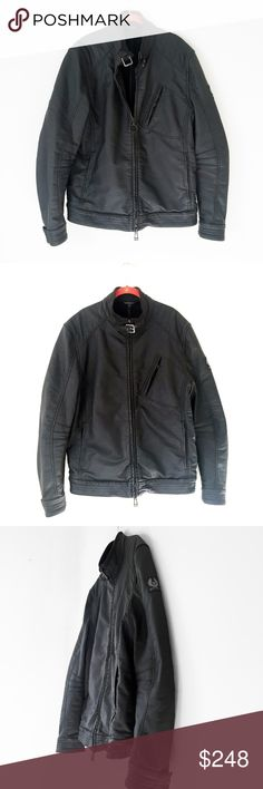 """BELSTAFF BLOUSON moto bike black jacket men 56 xl BELSTAFF  made in Romania.  stand collar. asymmetric chest pocket. gunmetal hardware. coated, 100% cotton.  I do not sell inauthentic items. $795 Barneys NY, boston MA.  men's size, 56   laid flat, seam - seam: chest: 23"""" shoulders: 20"""" nape - hem: 27"""" shoulder - cuff: 28""""  excellent, minimal wear from storage.  small lightened spot on mid back, see photos.  waxed barbour all saints allsaints motorcycle leather waterproof barbour rain jacket…"""