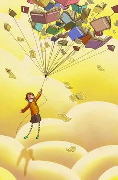 Flying with books as balloons