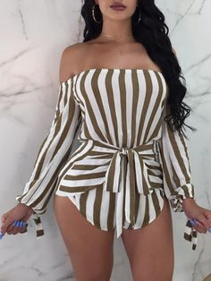 Sexy Off Shoulder Striped Belted Playsuit - Beauty Outfit Sexy Outfits, Sexy Dresses, Summer Outfits, Fashion Dresses, Cute Outfits, Work Dresses, Event Dresses, Mode Kimono, Rompers Women