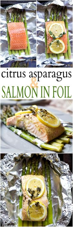 healthy food recipes chiken dinner cooking Citrus Asparagus & Salmon in Foil - so easy to make, loaded with roasted garlic and citrus flavor, plus clean up is a breeze! Dinner has never been easier! Quick Easy Dinner, Quick Dinner Recipes, Paleo Dinner, Easy Healthy Dinners, Easy Healthy Recipes, Quick Easy Meals, Healthy Food, Simple Recipes, Easy Dinners
