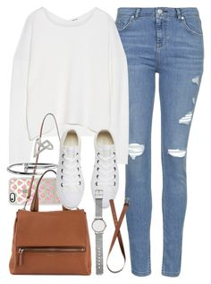"""Outfit for college with light blue jeans and converse"" by ferned ❤ liked on Polyvore featuring Topshop, Helmut Lang, Casetify, Givenchy, Converse, H&M and Witchery"