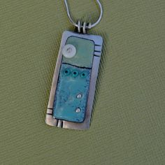 Blue and Green Enamel Sgraffito Necklace on sterling silver chain