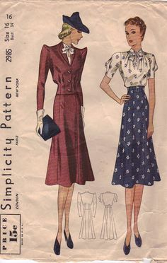Simplicity Pattern 2985, from the 1930s