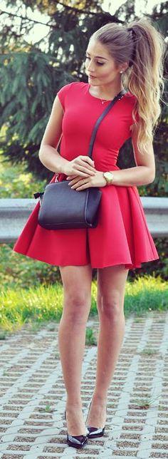 Red Skater Dress Fall Inspo