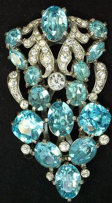Vintage Signed Eisenberg Ice Blue Clear Rhinestone Dress Fur Clip 1930's Posh | eBay
