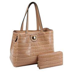 Light Brown Crocodile Tote Handbag and Wallet Set Wholesale Bags, Wholesale Jewelry, Accessories Store, Fashion Accessories, Tote Handbags, Crocodile, Crocs, Vegan Leather, Shoulder Strap