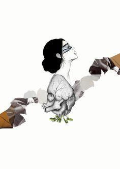 """Arantxa Rueda / www.arantxarueda.com """"Ojos que no ven, corazón que no siente"""" Illustration + collage with illustrationsbycommeuneimage."""