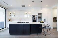 Trendy Kitchen Modern Black White Home Black Kitchens, Luxury Kitchens, Cool Kitchens, Kitchen Black, Classic White Kitchen, The Block Kitchen, New Kitchen, Kitchen Modern, Kitchen Sink