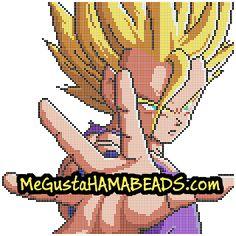 Hama Beads Gohan Super Saiyan level 2 Plantilla en formato Midi y Mini Perler