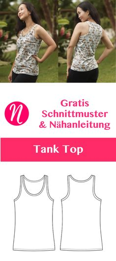 Tank Top für Damen – Freebook Größe 34 – 50 Free Sewing Pattern Tank Top for Women. Size 34 – PDF cut to print. Easy for Beginners ❤ Sewing Talents – Magazine for Free Sewing Patterns – Free sewing patterns for a woman tank top. Dress Sewing Patterns, Sewing Patterns Free, Free Sewing, Clothing Patterns, Free Pattern, Pattern Sewing, Dress Clothes For Women, Dress Shirts For Women, Diy Kleidung