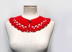 Crochet Peter Pan Collar in Red Wool with Silver Button  by ixela, $29.00