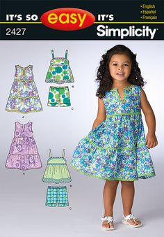 Simplicity Creative Group - It's So Easy Toddler Dress and Sportswear Toddler Dress Patterns, Childrens Sewing Patterns, Clothing Patterns, Toddler Fashion, Toddler Outfits, Kids Fashion, Girl Outfits, Toddler Girls, Little Girl Dresses
