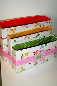Super cute office/desk organizers from cereal boxes! http://spaceforlivingos.com/2011/05/feeling-a-little-crafty.html