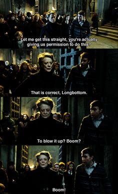 """Why don't you confer with Mr. Finnigan? As I recall, he has a particular proclivity for pyrotechnics.""   Favorite part of the movie!! Harry Potter World, Harry Potter Jokes, Harry Potter Universal, Harry Potter Fandom, Harry Potter Deathly Hallows, Draco, Severus Snape, Maggie Smith, Fans D'harry Potter"