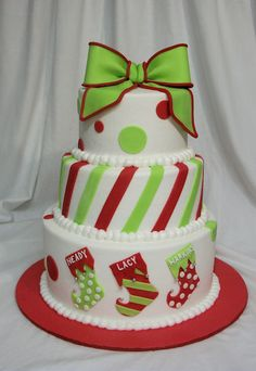 This is a combo cake for 3 family members baby shower and a Christmas family reunion. BC base icing with fondant decor, thanks for looking