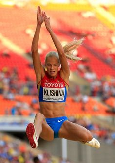 Darya Klishina of Russia competes in the Women's Long Jump qualification during Day One of the IAAF World Athletics Championships Moscow 2013 at. Darya Klishina, Weight Loose Tips, World Athletics, Long Jump, Beautiful Athletes, Black Fitness, Sporty Girls, Bodybuilding Workouts, Track And Field