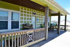 Upstairs front deck is partially covered.  Sun or shade, a great place to hang out.  For more details, visit our Facebook page at https://www.facebook.com/barefootescapebeachrental/