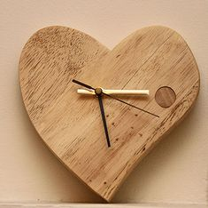 Hand Crafted Valentine Wooden Clock Rustic Wall Clocks, Wood Clocks, Wall Watch, Diy Clock, Clock Ideas, Mantle Clock, Wooden Walls, Wooden Mantle, Picture On Wood