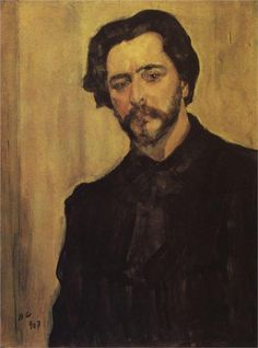 Valentin Serov (Russian 1865–1911) [Impressionism, Realism, Peredvizhniki, Portraits] Portrait of the Writer Leonid Andreev, 1907. The State Literature Museum, Moscow, Russia.