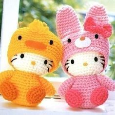 Hello Kitty duck & rabbit crochet pattern sold by crochetpattern. Entire Hello Kitty & misc pattern set $15 USD.