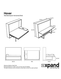 The Horizontal Queen Murphy Bed Desk is a perfect wall-bed and work station for a a convertible office flex space. When vertical or length space is a problem, this gem design offers both working space… Queen Murphy Bed, Murphy Bed Desk, Murphy Bed Plans, Desk Bed, Murphy-bett Ikea, Horizontal Murphy Bed, Diy Bett, Modern Murphy Beds, Latex Mattress