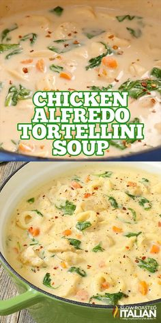 Soup Recipes 96621 Chicken Alfredo Tortellini Soup is like your favorite chicken Alfredo recipe with vegetables in a rich and velvety soup. It is warm and comforting and utterly happy-dance inducing! Best Soup Recipes, Crockpot Recipes, Cooking Recipes, Recipes For Four, Crock Pot Soup Recipes, Italian Food Recipes, Comfort Food Recipes, Summer Soup Recipes, Velveeta Recipes