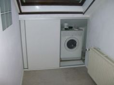 Stay Home. Small Laundry Rooms, Small Rooms, Attic Closet, Room Doors, Deco, Washing Machine, Basement, Sweet Home, New Homes