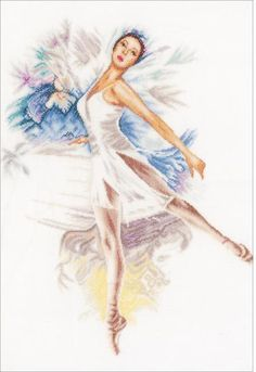 Lanarte Ballerina - Cross Stitch Kit. Complete kit includes 30 count Ecru Linen, sorted floss, needle and instructions. Finished size approximately 16.4 x 20.8