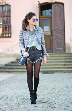Denim Shorts With A Down Jacket 2017 Street Style