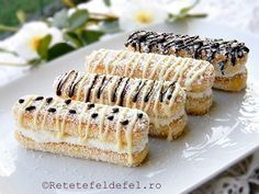 prajitura din piscoturi cu crema de mascarpone Romanian Desserts, Romanian Food, Sweet Recipes, Cake Recipes, Praline Recipe, Pastry Design, Easy Sweets, Good Food, Yummy Food