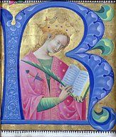 Illuminated initial 'R' depicting St. Catherine of Alexandria, Lombardy School Creator:Belbello da Pavia (active from ca. 1430, died after 1473)