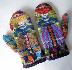 Knitting Patterns Gloves Ravelry: lacesockslupins' 'Foolish Virgins' Mittens – one of the most divine projects ev… Fair Isle Knitting, Free Knitting, Knitting Socks, Knitting Patterns, Crochet Patterns, Mittens Pattern, Knit Mittens, Knitted Gloves, Kitten Mittens