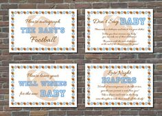 Football-Themed Baby Shower Signs and Games by ArtAndDesignByAlma