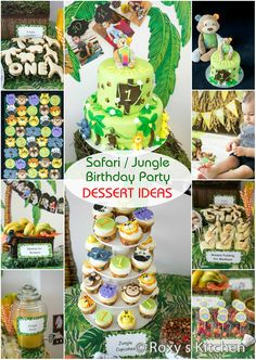 Safari / Jungle Themed First Birthday Party - Dessert Ideas. Great for a Baby Shower Too! Jungle Cake, Smash Cake, Jungle Animal Cupcakes & ...