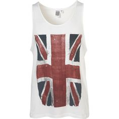 Topman White Great Britain Flag Vest ($4.55) ❤ liked on Polyvore