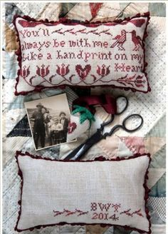 Handprint On My Heart is the title of this cross stitch pattern from Heartstring Samplery that is stitched with Classic Colorworks