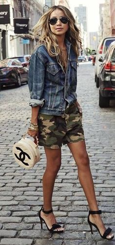 what to wear with a denim jacket : khaki shorts + bag + heels