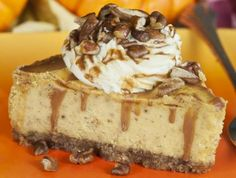 A pumpkin cheesecake recipe that has just the right amount of cinnamon to give it a wonderful spiced taste.