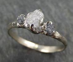 Dainty Raw Rough Diamond Engagement Stacking ring Wedding anniversary White Gold black gray white diamonds 14k Rustic byAngeline 0405