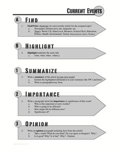 A great tool for students to get involved with the news and current events. This simple writing format helps students find, summarize and write opinions about current news stories. A great filler for various classes.