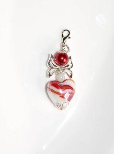 Herz Engelchen Anhänger 6cm weiß rot Glasperlen Schutzengel Glücksbringer Engel Charm Armband Handtasche Schlüssel Geldbeutel Geschenk von CreativeWithHeart auf Etsy