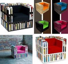 A chair and a book shelf, this is a chic and practical way to have your favorite books right at hand.  http://www.oddee.com/item_98542.aspx
