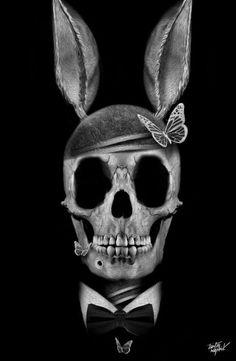 XRay of Rabbit Skull wearing Tuxedo, black and white photo.