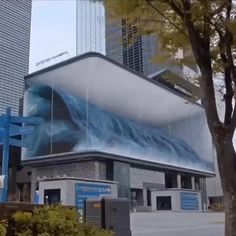 Imagine if it breaks! Just kidding 😝 Public artwork of a wave on a digital screen board in Korea 😍 Plays audio of waves crashing too 🌊 By 👌🏼 Architecture Student, Futuristic Architecture, Contemporary Architecture, Landscape Architecture, Architecture Design, Instalation Art, Exterior Design, Interior And Exterior, Illusion Art