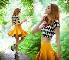 Lucky Chouette Skirt, Jeffrey Campbell Heels, Appleineye Necklace, Femmex Top, Lucky Chouette Smartphone Case